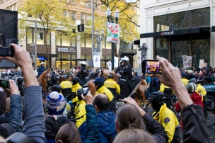 Spectators with Camera Phones Recording Occupy Portland Protest