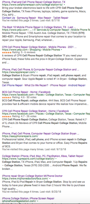 "9/14/18 Page 1 Google Results for ""Cell Phone Repair College Station"""