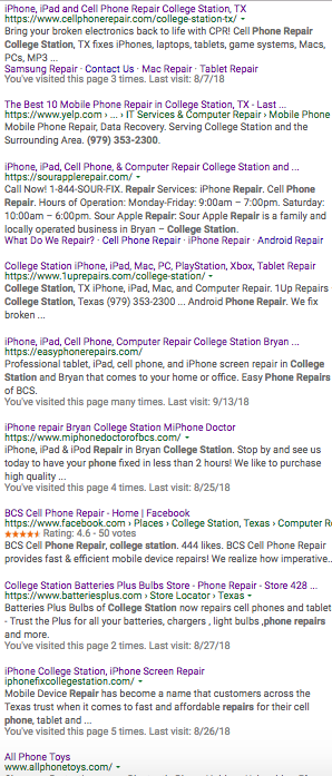 "9/14/18 Page 1 Google Results for ""Phone Repair College Station"""